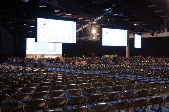 Hall H, the largest panel hall, before a presentation.