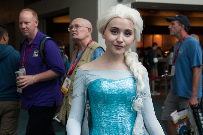 A cosplayer strikes a pose as Elsa from Disney's 'Frozen.'