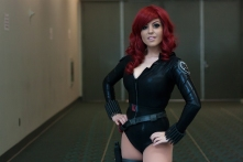 Black Widow poses in a rare quiet hallway.
