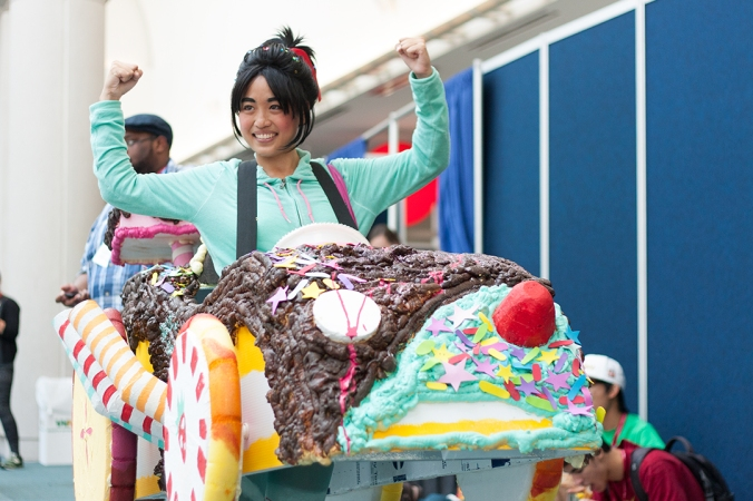A cosplayer strikes a pose as Vanellope from Disney's 'Wreck-It Ralph.'