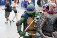 Donatello wields his bo-staff in the Sails Pavilion.