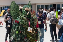 Swamp Thing shows his badge at the DC Comics cosplayer shoot.