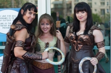 'Xena: Warrior Princess' fans showcase impressive costumes for onlookers.