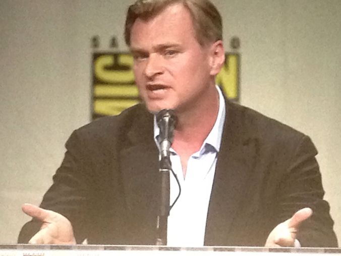 Director Christopher Nolan speaks to Hall H during the Paramount Pictures panel. (Abrah Shapiro/Acta Dinerda)