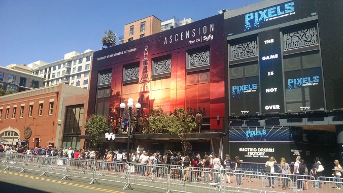 Several Gaslamp Quarter buildings, like SyfY's 'Ascension,' are overhauled for the convention each year.