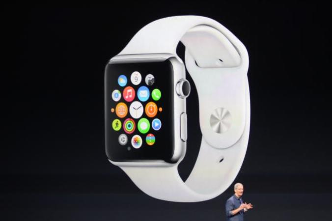 Tim Cook unveils the Apple Watch at a conference in California. (TechCrunch/Twitter)
