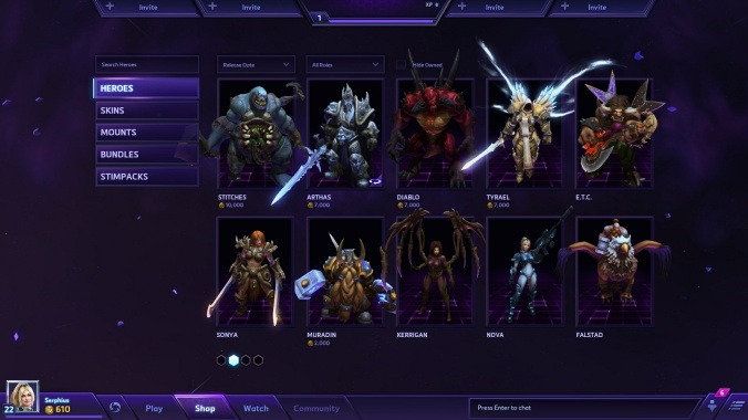 The in-game store allows players to purchase heroes and skins with real money or, in most cases, in-game gold.
