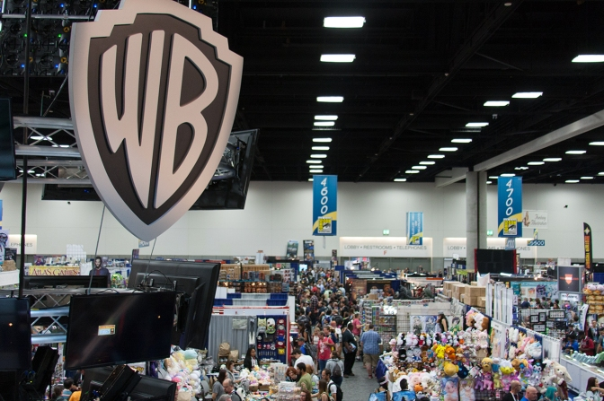 An overhead view of the convention floor from the top of the Warner Bros. booth