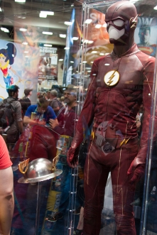 Grant Gustin's Flash costume in the DC Comics booth.
