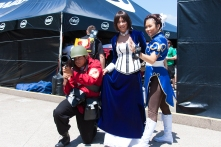 "A soldier from 'Team Fortress 2,' Elizabeth from ""Bioshock: Infinite' and Chun-Li from 'Street Fighter' gather near an off-site collection of booths."