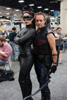 Catwoman and Hawkeye share a moment.