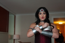 Beth Bryson readies her Wonder Woman costume in her hotel room.