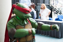 Raphael shows off his moves for a fan.