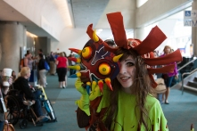 A fan shows off her homemade Majora's Mask from the 'Zelda' video games.