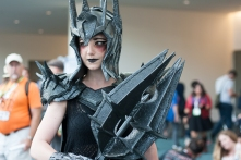 A genderbent Sauron from 'Lord of the Rings' shows off her weapon.