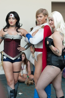 Beth Bryson and Mary-Ann Jones take a shot with Power Girl.