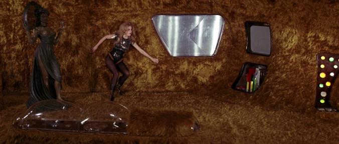 The shag-tastic interior of Barbarella's spaceship.
